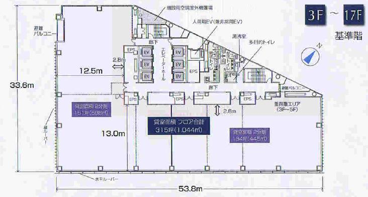 名駅4 名古屋クロスコートタワー 平面図