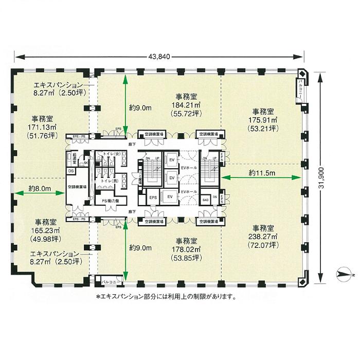 栄2 NBF名古屋広小路ビル 平面図