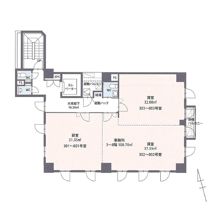 那古野2 スクエアオフィス名駅 平面図